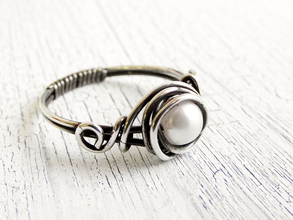 Antiqued Sterling Silver Pearl Ring Wire Wrapped Ring. $22.00, via ...
