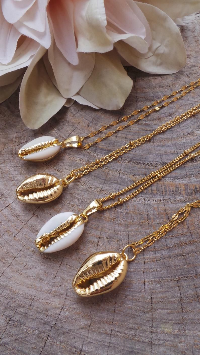 Simple Gold Necklace Ocean Seashell Necklace Cowrie Shell Necklace Layering Necklace Boho Gold Shell Necklace Pendant Necklace