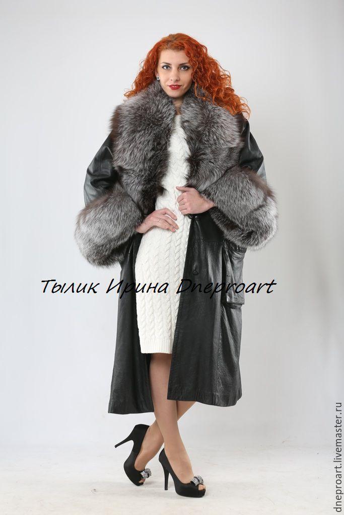 """Купить Пальто из кожи с чернобуркой""""Пантера"""" - черный, кожаное пальто, пальто с чернобуркой, меховой воротник"""