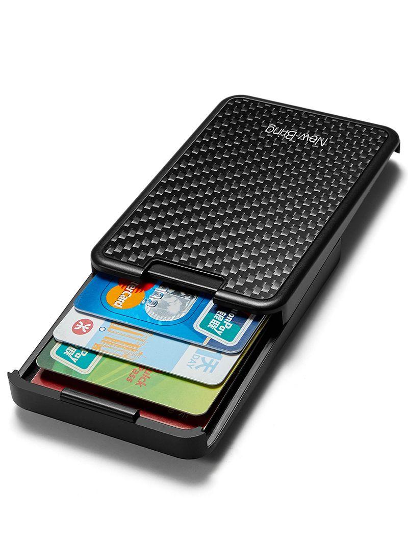 Newbring Automatic Pop Up Rfid Blocking Carbon Fiber Credit Card Holder Slim Wallet Front Pocket Card Case Holder Slim Wallet Metal Card Holder Pocket Cards