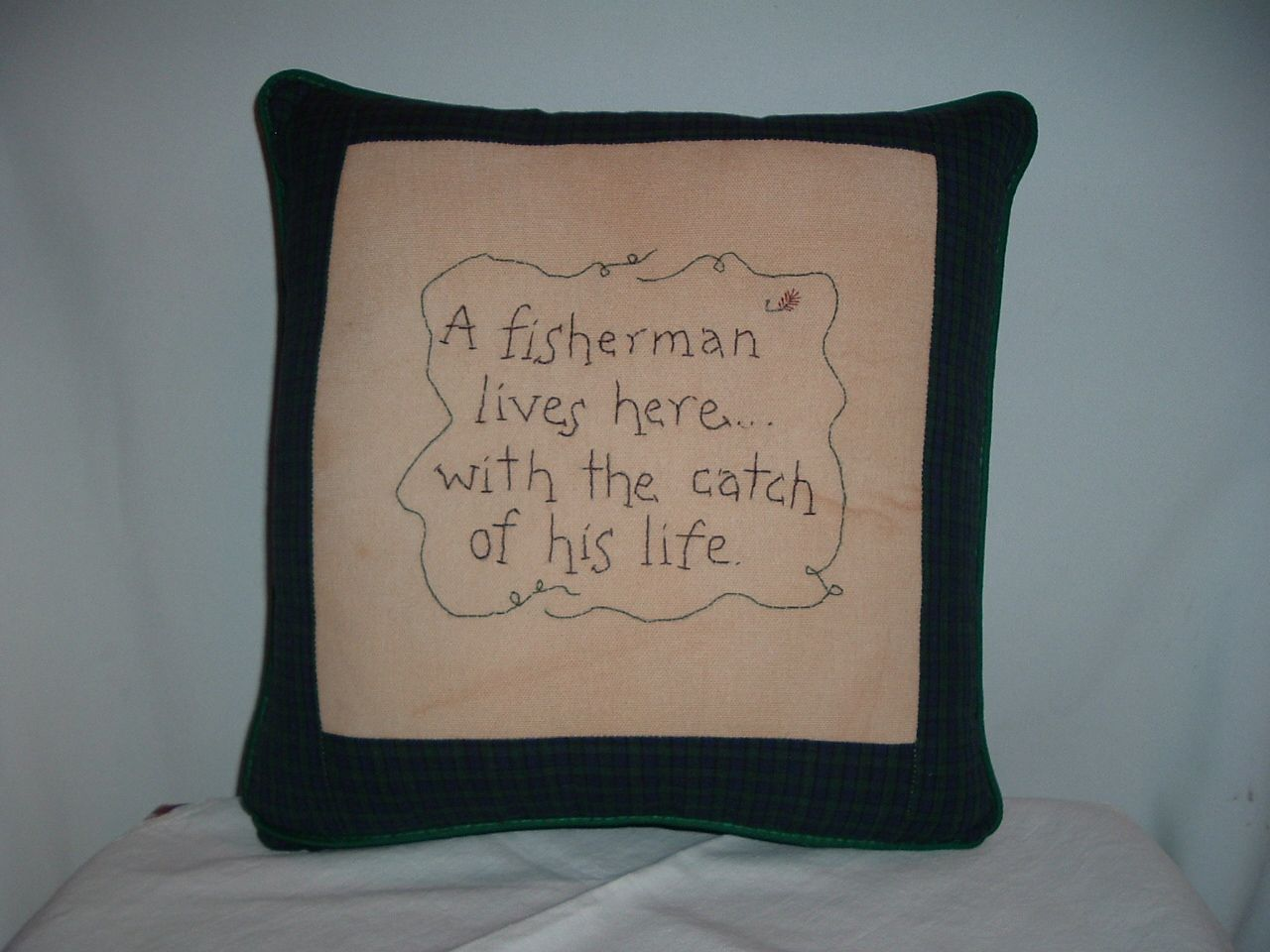 A 14 Square Pillow Is Embroidered On Canvas With A Funny Message