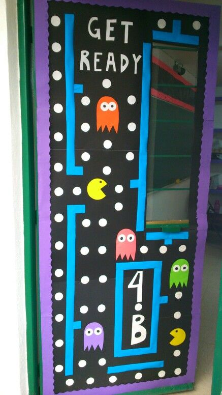 surprising Pac Man Door Decoration Part - 1: Pac Man door decoration - bulletin board - go retro