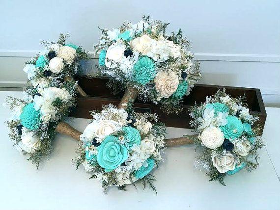 Teal Aqua Mint Navy Wedding Bouquet Sola Flowers Customize Colors Bridal Bouquet Alternative Bouquet Bridesmaids Bouquet Turquoise Wedding Bouquets Bridesmaid Bouquet Aqua Wedding