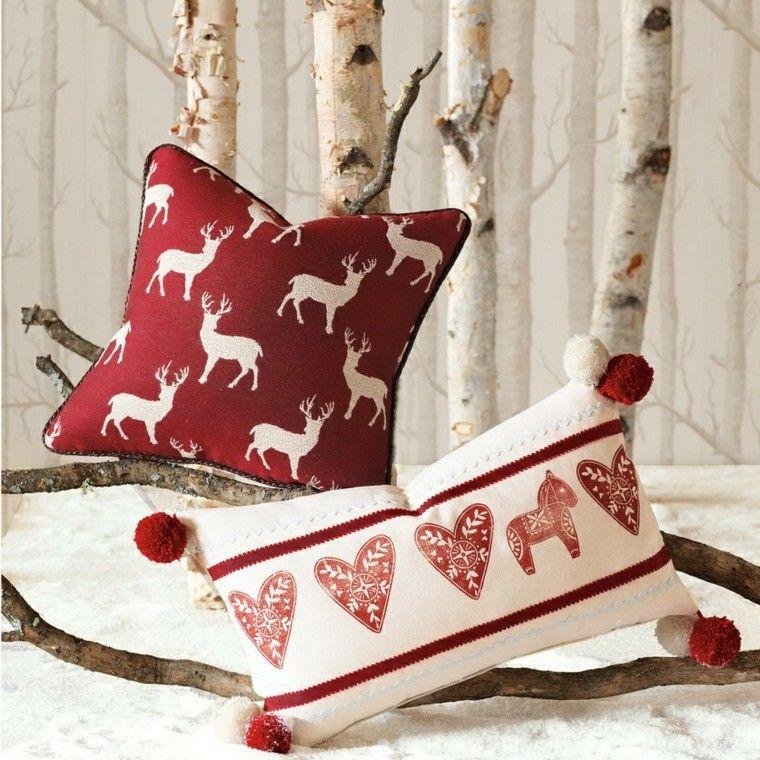 cojines con motivos navideños nórdicos arboles navideños