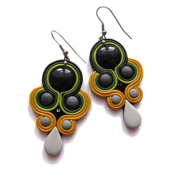 Halloween Jewelry Accessories, Polymer Clay Jewelry, Mustard Yellow Earrings, Autumn Jewelry, Polymer Clay Earrings, Handmade OOAK Jewelry
