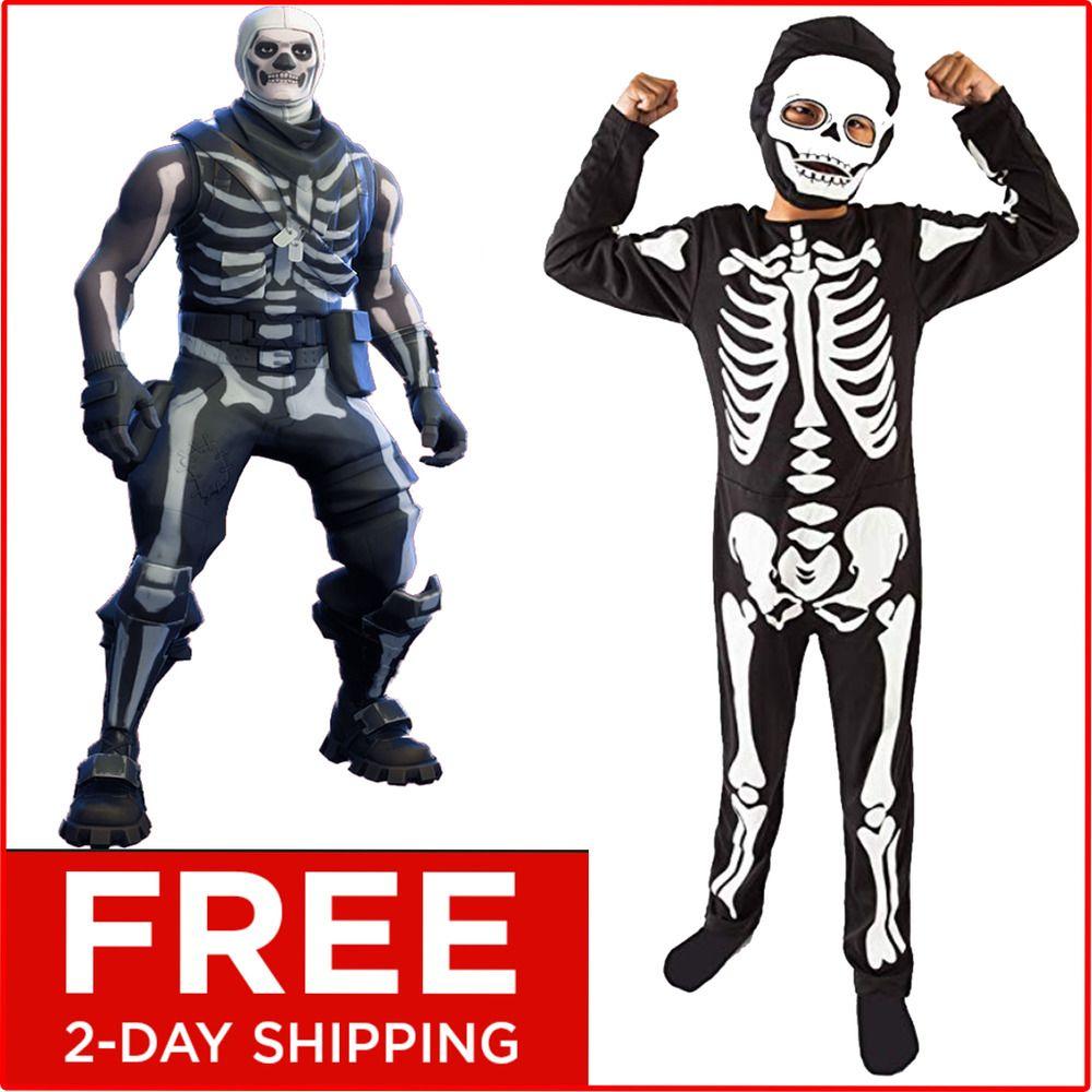 Fortnite skull trooper cosplay Halloween Costume Full suite