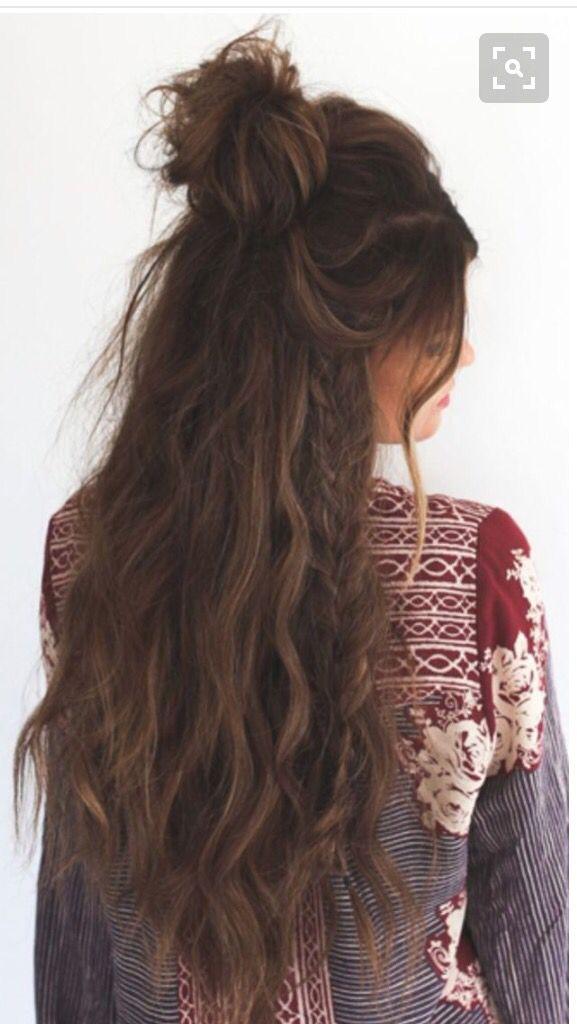 Braided Half Up Bun Hair Styles Long Hair Styles Thick Hair Styles
