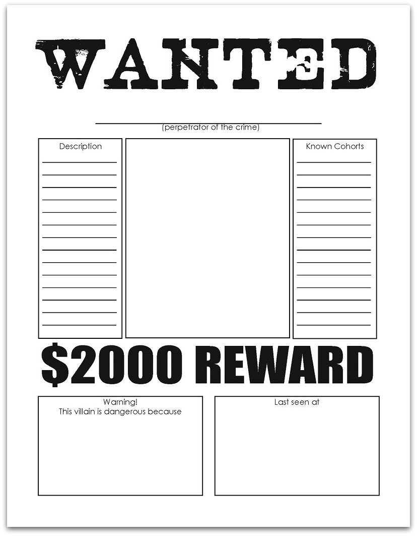 Wanted Poster | Free Printables | Pinterest | Writing ...