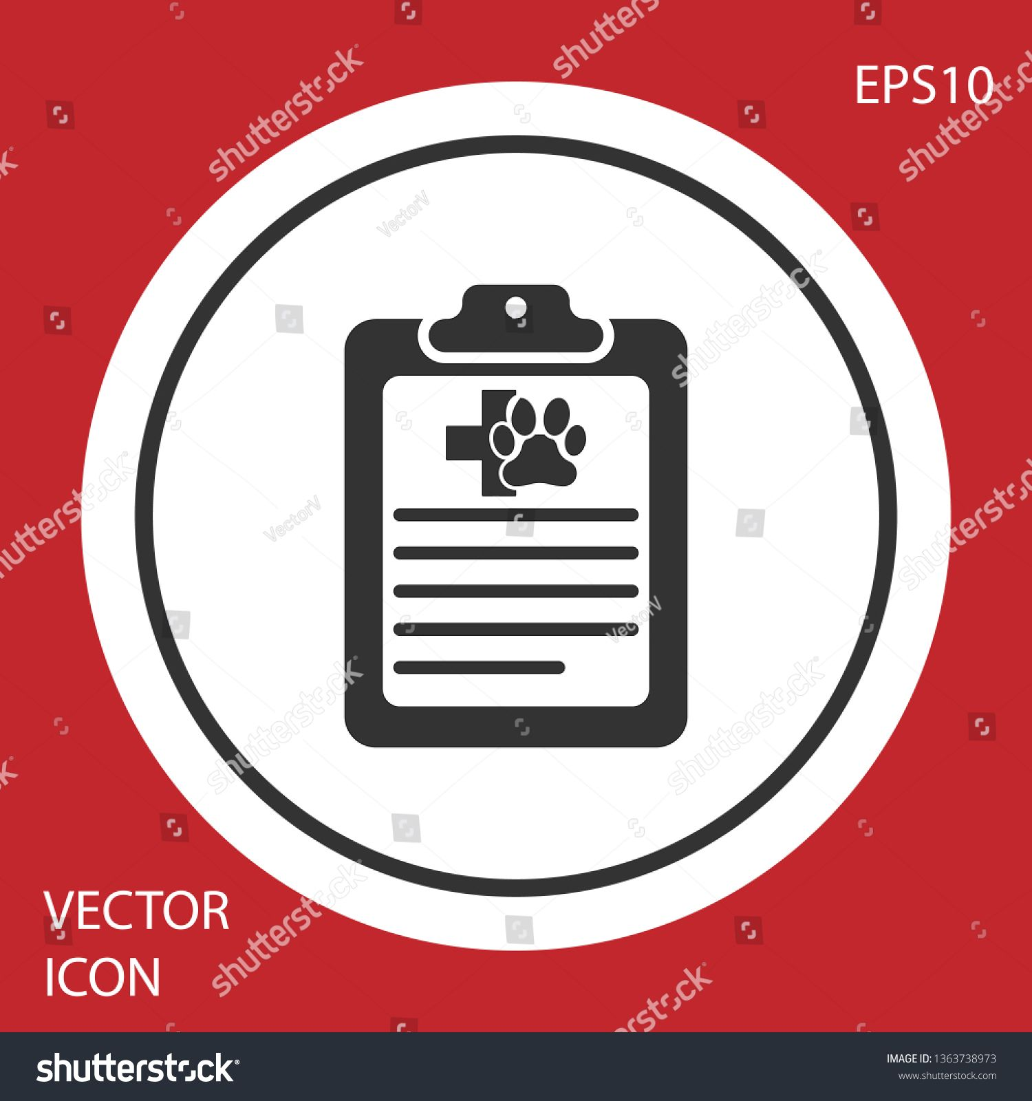 Grey Clipboard With Medical Clinical Record Pet Icon Isolated On