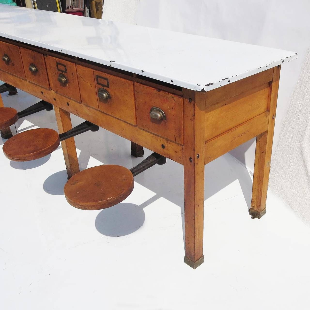Early 20th Century Institutional Work Table With Pull Out Seats