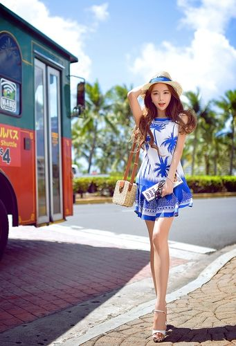 Blue Pattern Boho Sleeveless Designer Dress - Morpheus Boutique