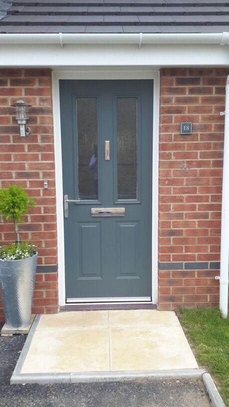 Front door Farrow u0026 Ball Down Pipe chrome letter box door push and knocker & Front door Farrow u0026 Ball Down Pipe chrome letter box door push and ...