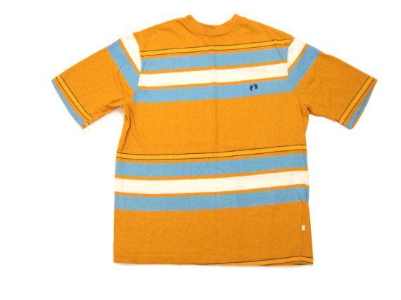 1970s Hang Ten Striped Cotton Tee Vintage Retro Surf Skate Style Short Sleeve Jersey Knit T Shirt Medium