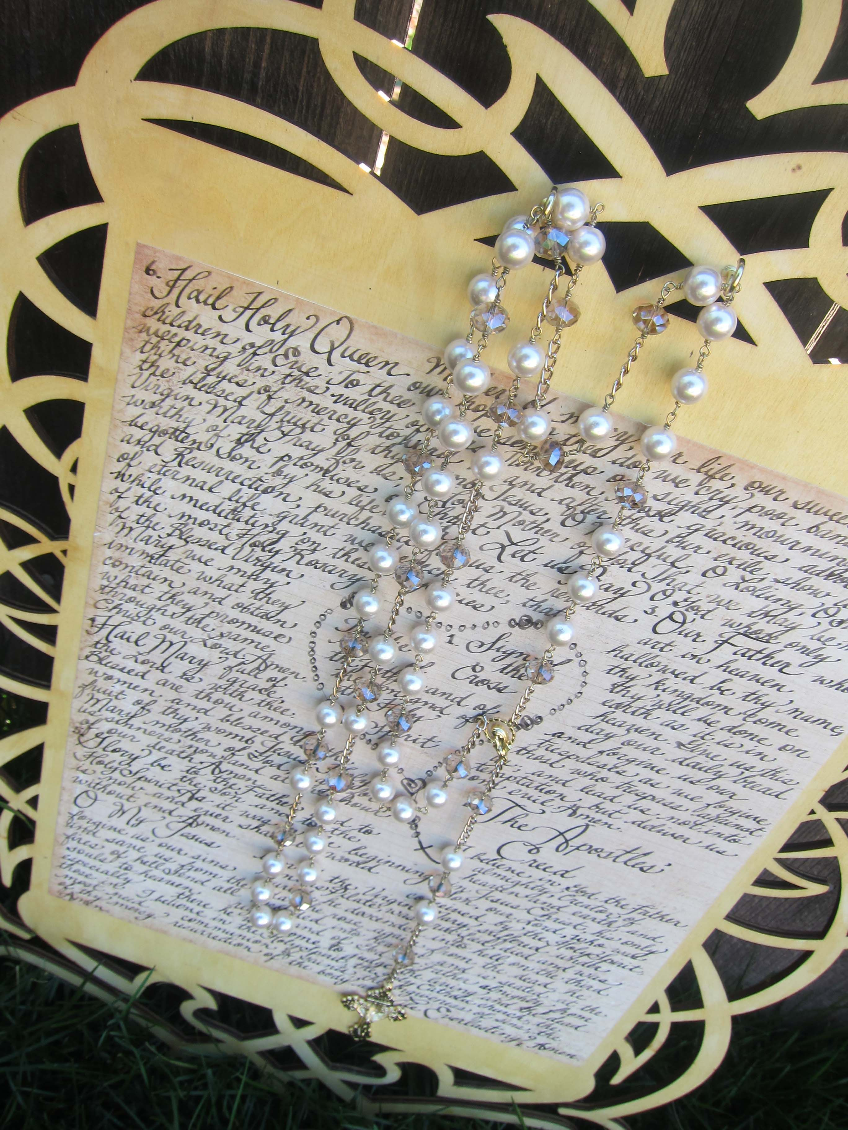 Catholic Wedding Rosary Gift Set Handcrafted Rosary And Wooden