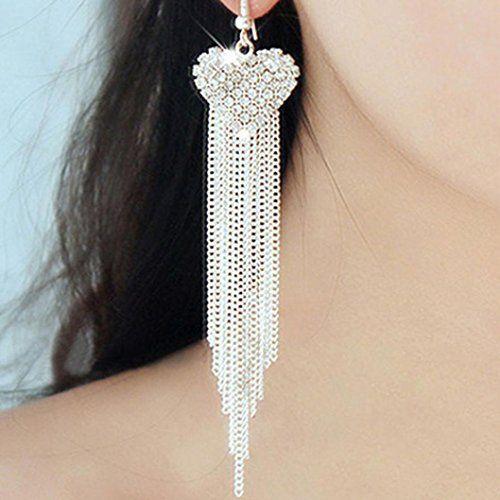 Vibola Lady Fashion Flower Elegant Golden Diamond Diamond Heart Ear Stud Earrings 1 Pair (Silver)