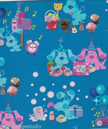 SWEET-Blues-Clues-1998-BIRTHDAY-Gift-Wrap-Wrapping-Paper