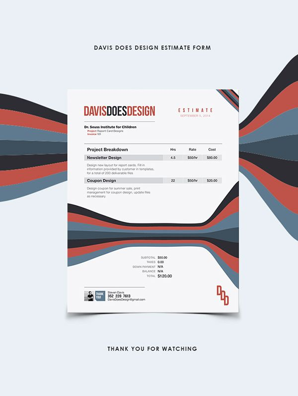 EstimateInvoice Form By Steven Davis Via Behance  Design