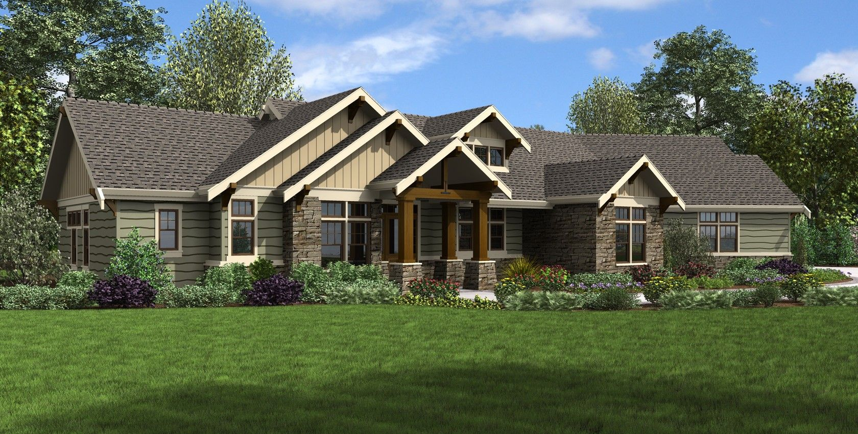 Image For Arapahoe Popular Amenities Such As Vaulted Spaces Great Rear Porch 8513 Ranch Style House Plans Ranch House Plans Craftsman Style House Plans