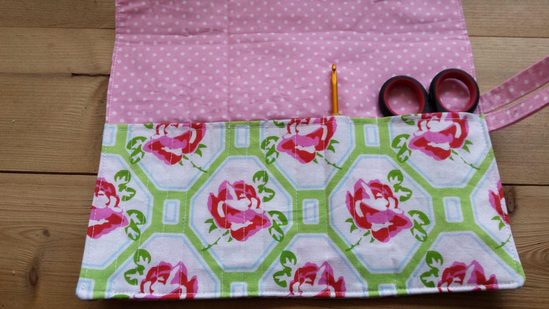 Pink  flower floral & polka dot crochet hook roll holder organiser by Pictureitinfelt on Etsy