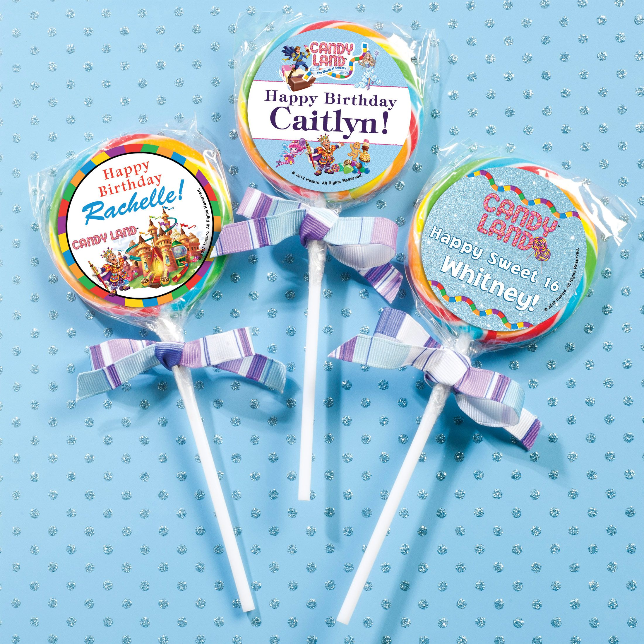 Candy party swirl lollipops feature your custom party details on the label for sweet treats and personlized favors!