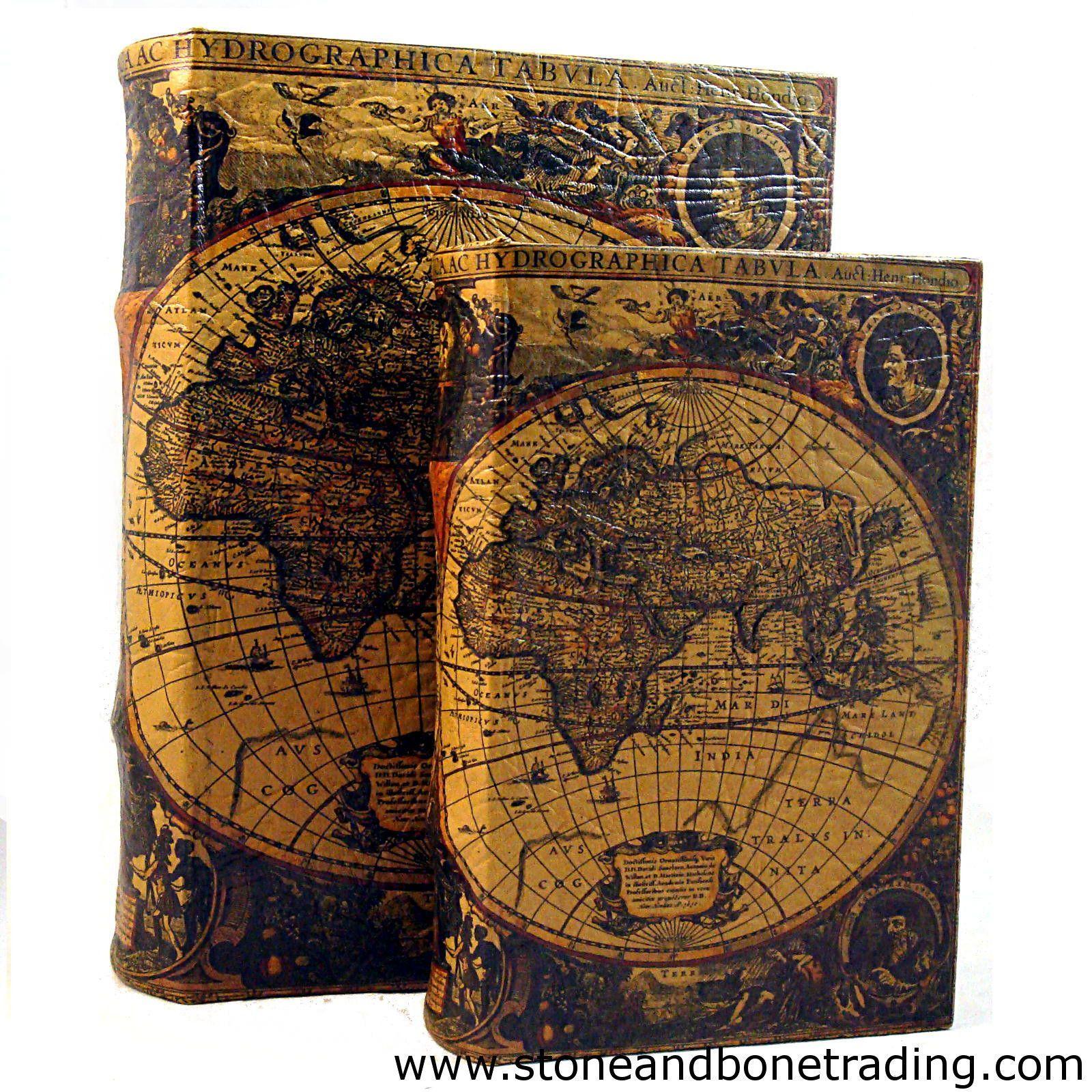Buchtresor Buchsafe Buchattrappe Geheimversteck Geheimsafe Weltkarte Box 22cm