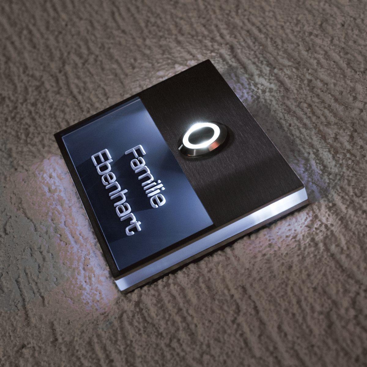 Anthrazit Klingelplatte LED Klingelknopf Haustürklingel Türklingel Edelstahl