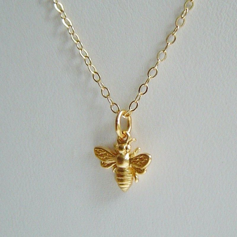 Tiny Gold Bee Necklace Honey Bee Bumble Bee On 14k Gold Filled Chain Bee Jewelry Mothers Gift Bee Necklace Gold Bee Bee Jewelry