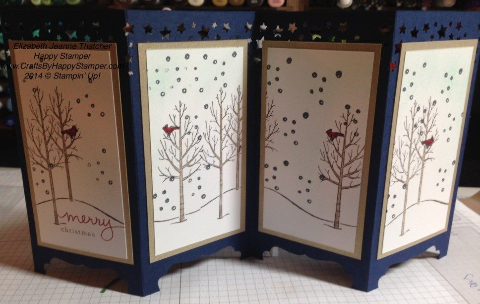 Stampin Up White Christmas Stamp Set Card Screen Divider Like How The Top Of Was Punched W Stars