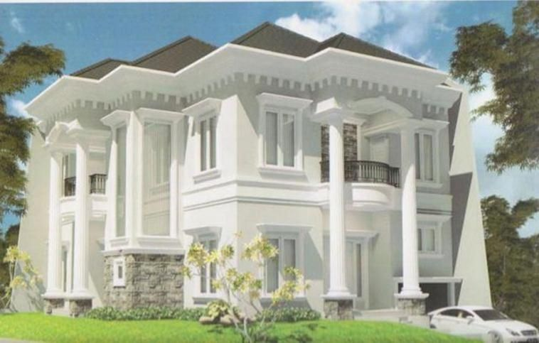 White Exterior Design For Modern Classic House