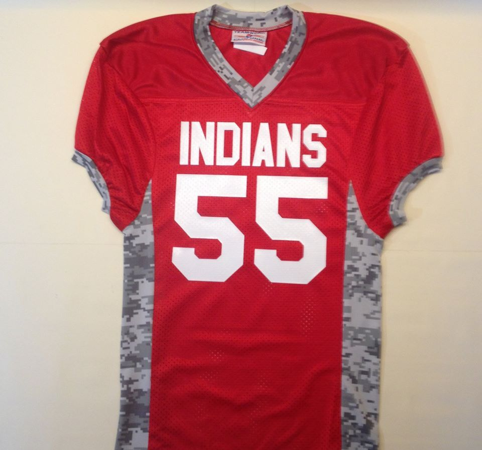 Design your own football jersey t-shirt - Indians Scarlet Red Custom Football Jersey With Digital Camo Print In Grey And White Lettering