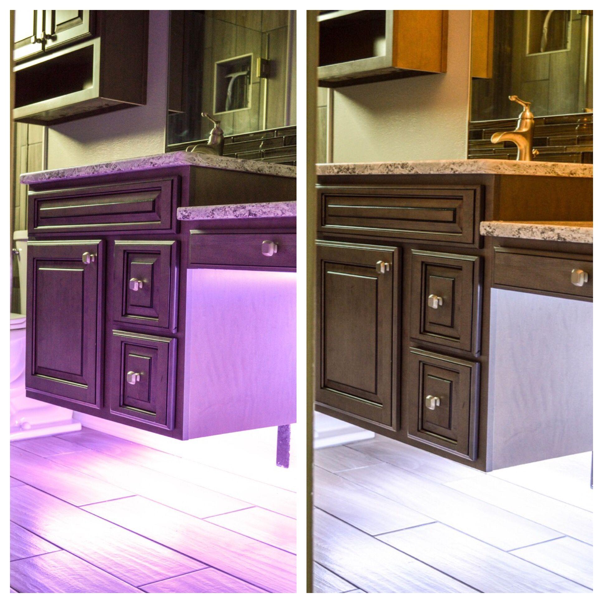 Floating cabinets, adjustable under-cabinet lighting, wood ...