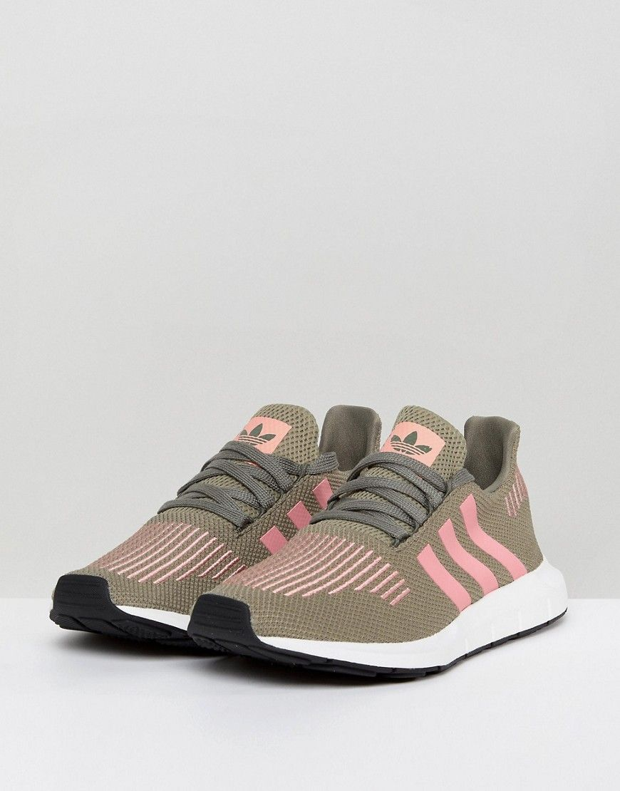 cheap for discount e4949 07a19 adidas Originals Swift Run Sneakers In Khaki With Pink Stripe - Green