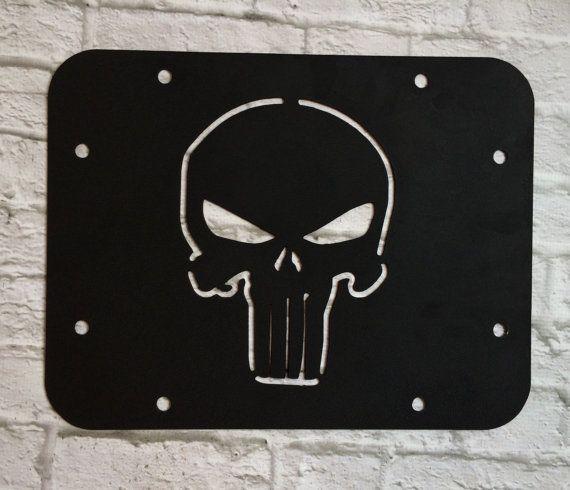 Punisher Skull Wrangler Jk Tj Tire Delete Plate Panel Vent Cover