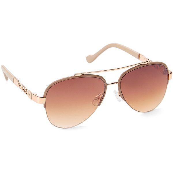 Jessica Simpson Collection Nude & Rose Gold Aviator Browline... ($25 ...