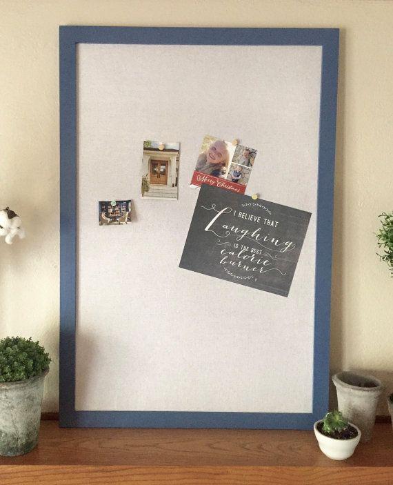 Large framed bulletin board cork board message board organizer pin ...