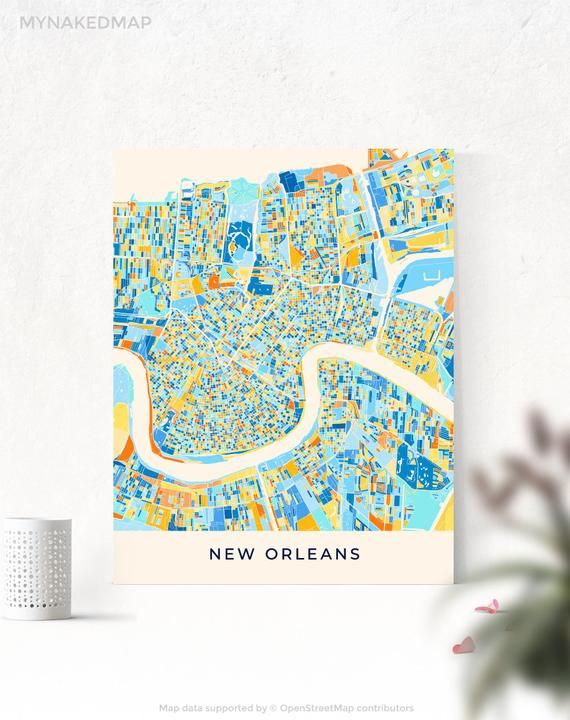 New Orleans Map Colorful Map Print Wall Art Creative City Map