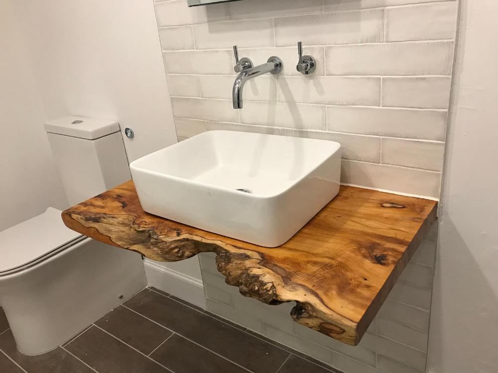 Rustic Vanity Basin Character Natural Wood Shelf Countertop Etsy Vanity Shelves Floating Shelves Bathroom Rustic Vanity