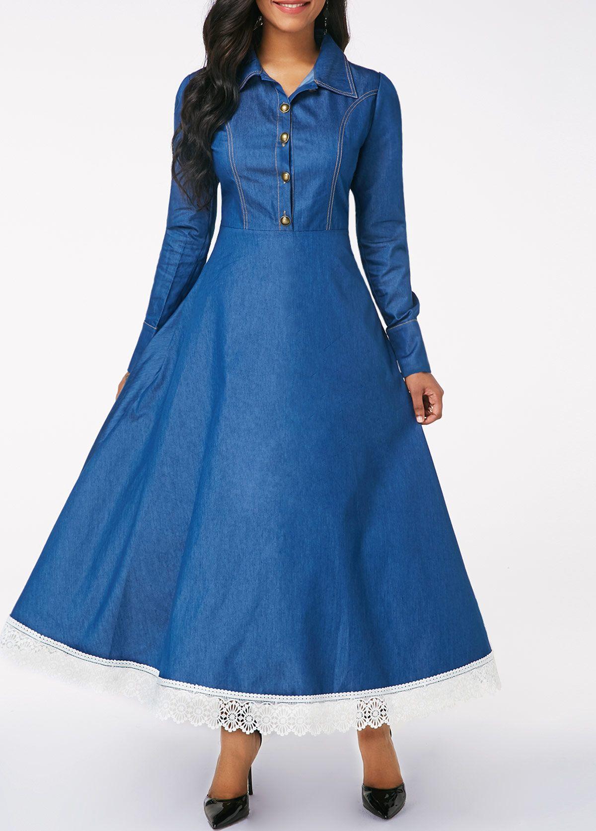 Long sleeve button front lace patchwork denim dress fallwinter