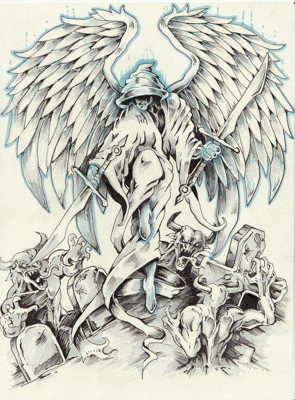 Angel Tattoo Comission By Samurai30 On Deviantart Angel Tattoo Guardian Angel Tattoo Designs Demon Tattoo