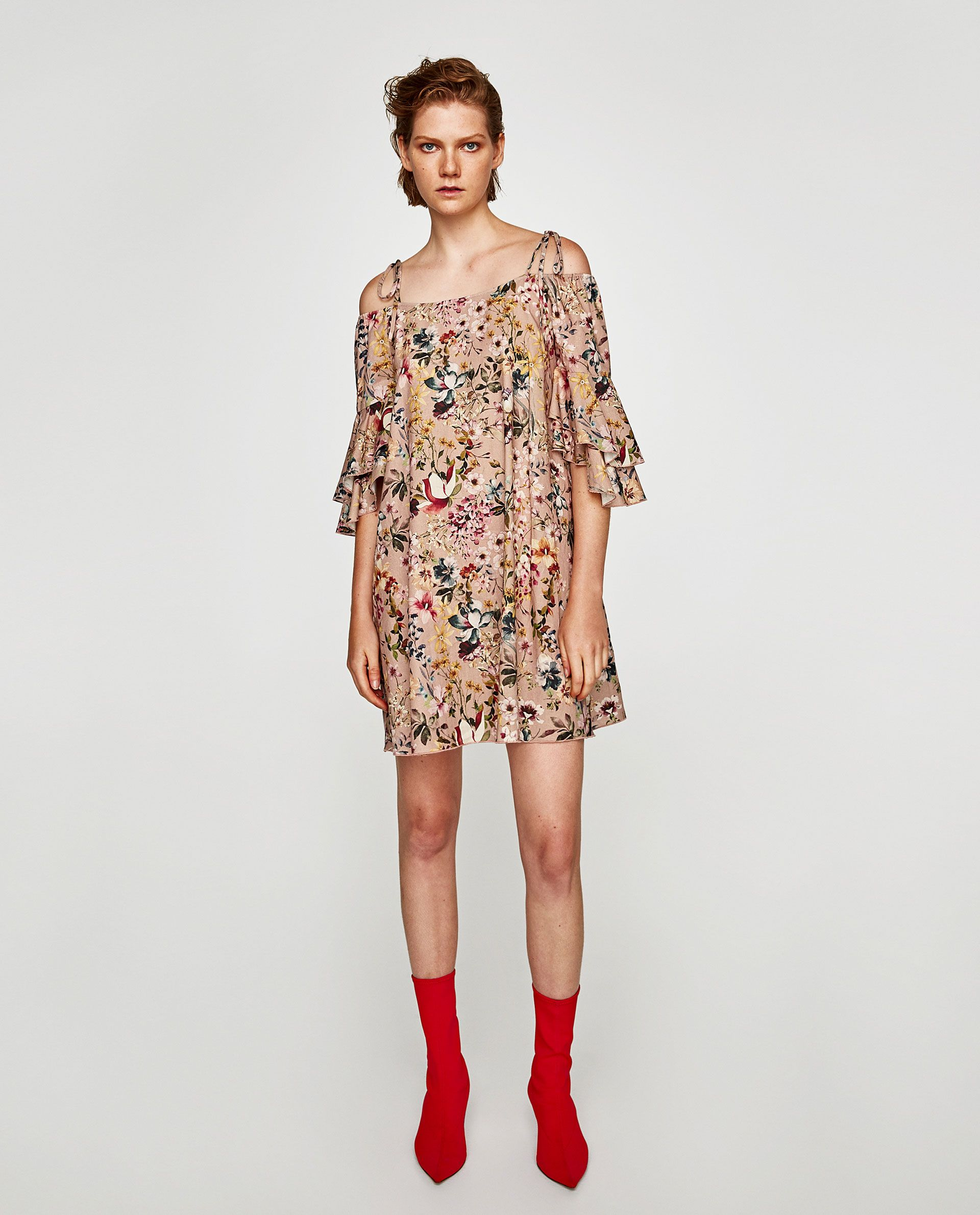 ecff1a07b77 Image 1 of FLORAL PRINT LINEN DRESS from Zara