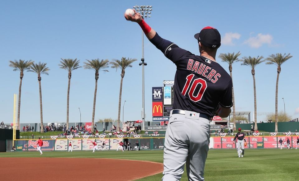 Cleveland Indians Jake Bauers warms up before the first
