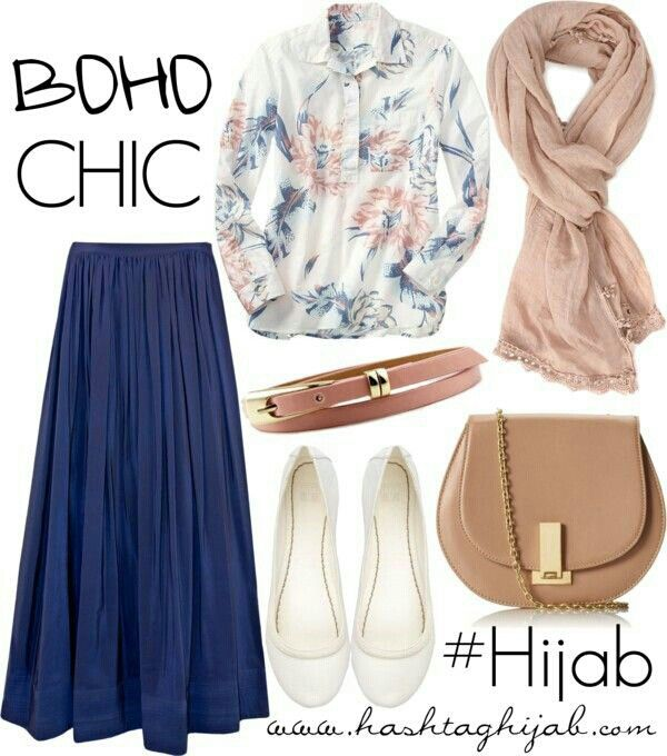 81♥♥ boho chic hijab outfit leather blue beige white