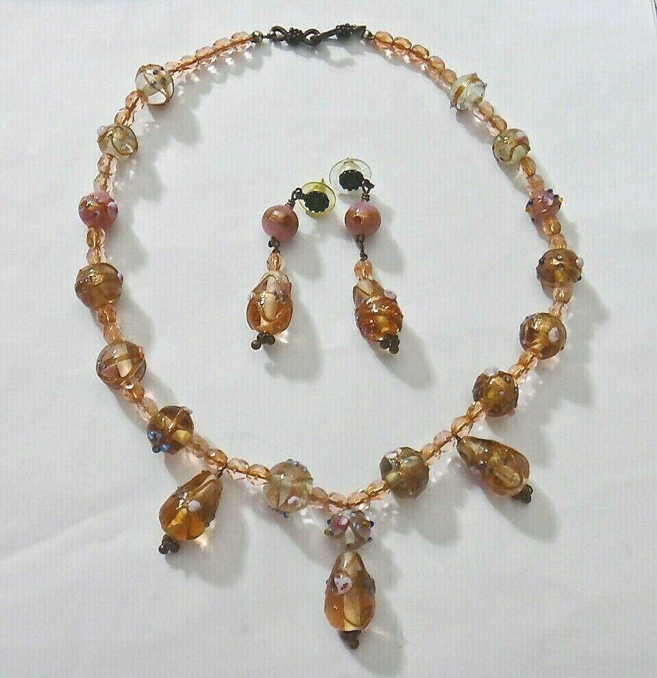 *Freedom Tree* Amber Gold  Silver Foil Murano Glass Bead Bracelet