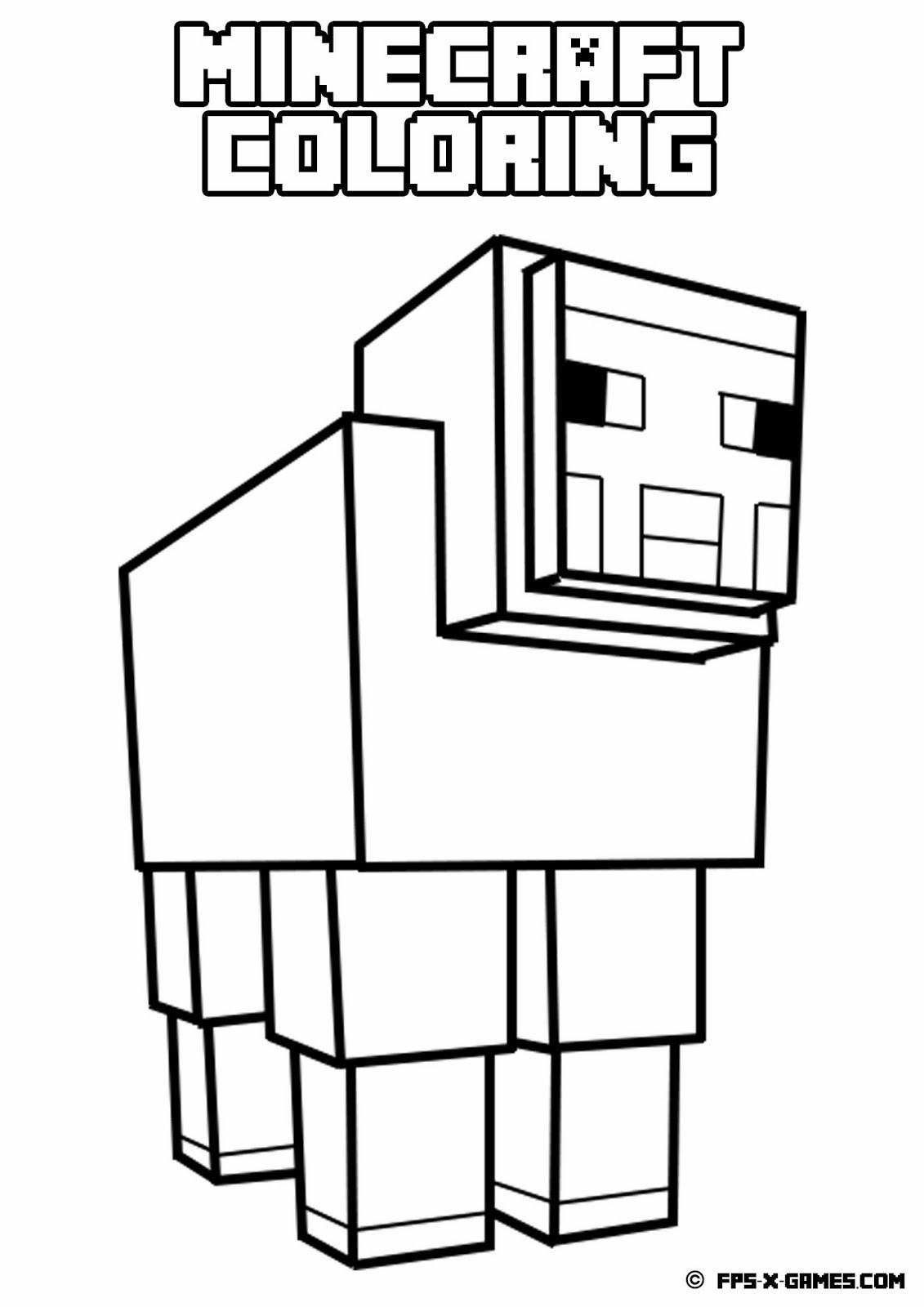 Printable Minecraft coloring Sheep Minecraft