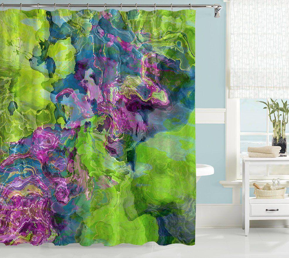 Contemporary Shower Curtain Purple Blue Green