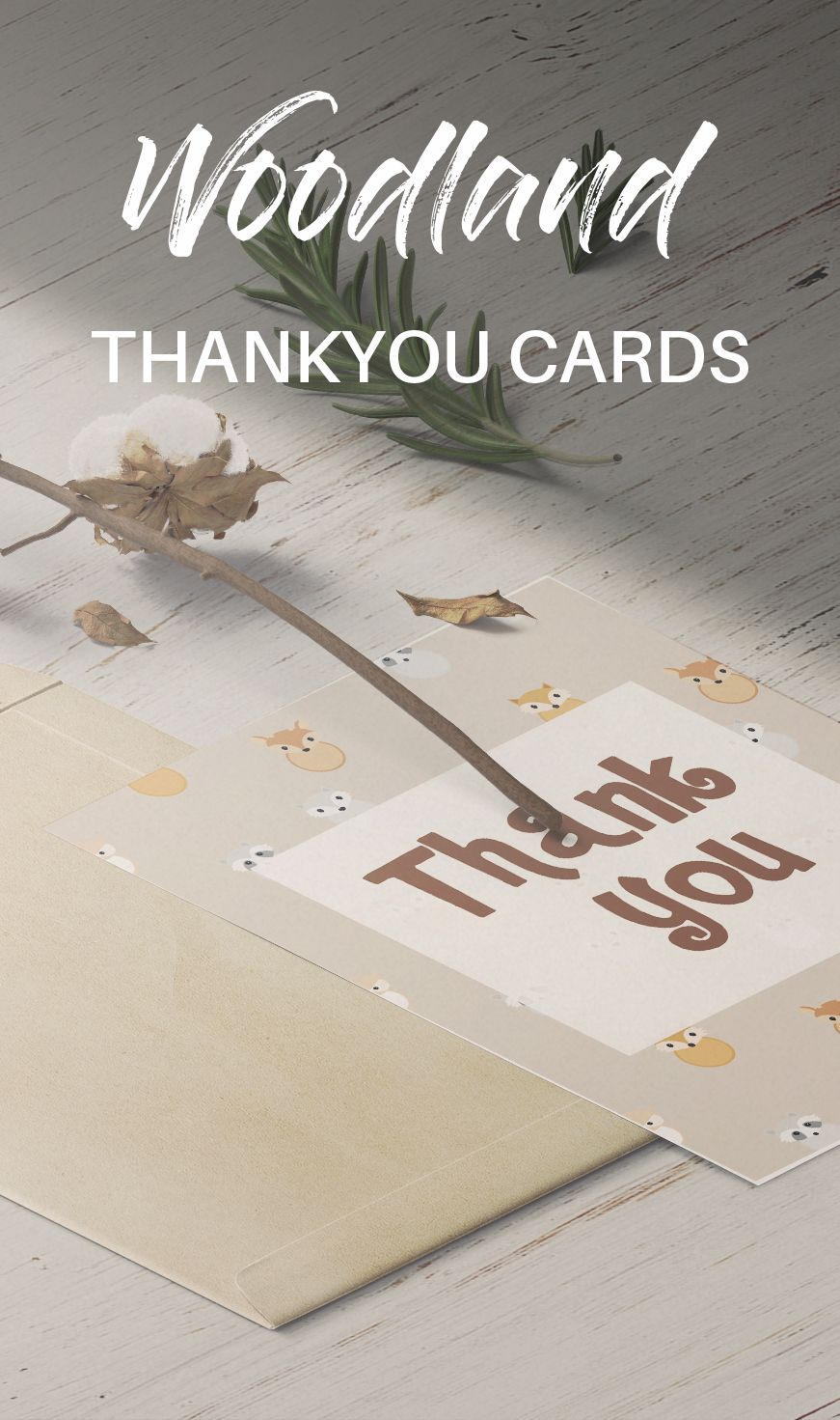 Instant Download Woodland Animals Thank You Card Baby Shower