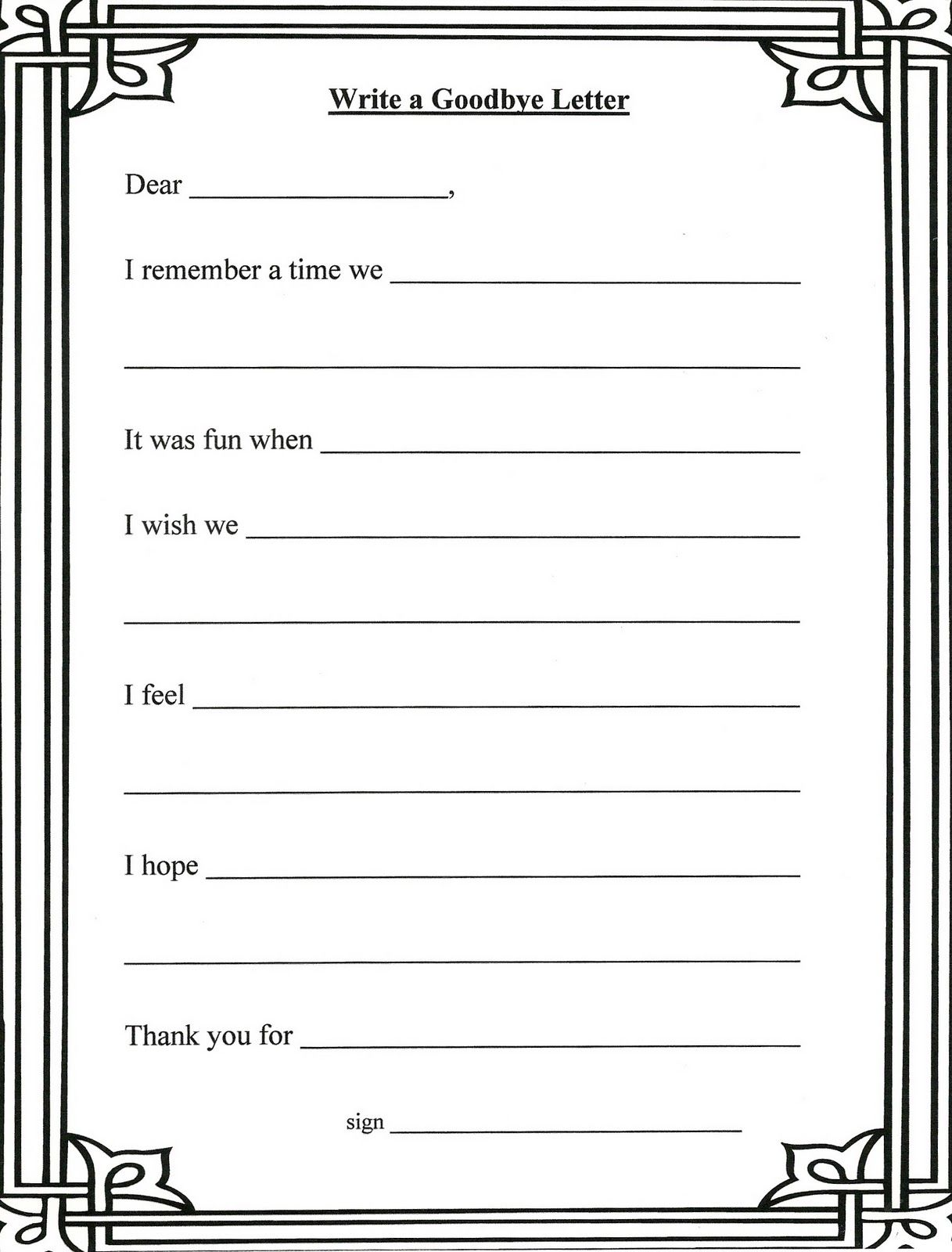Grief And Loss Worksheets  Writing A Letter To The Person Who Has