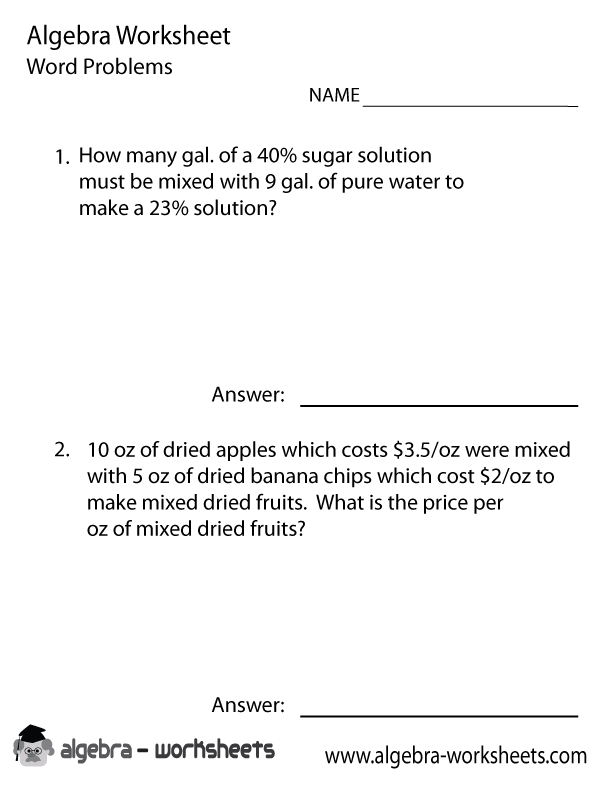 Algebra Word Problems Solver Worksheet  Algebra Worksheets