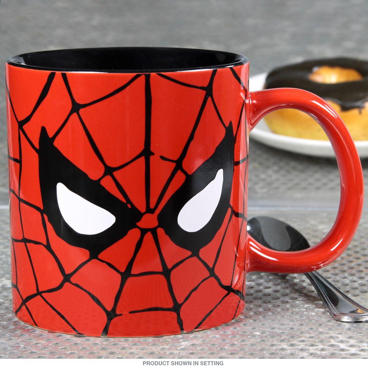 SpiderMan Face Large Ceramic Coffee Mug Canecas, Vidro