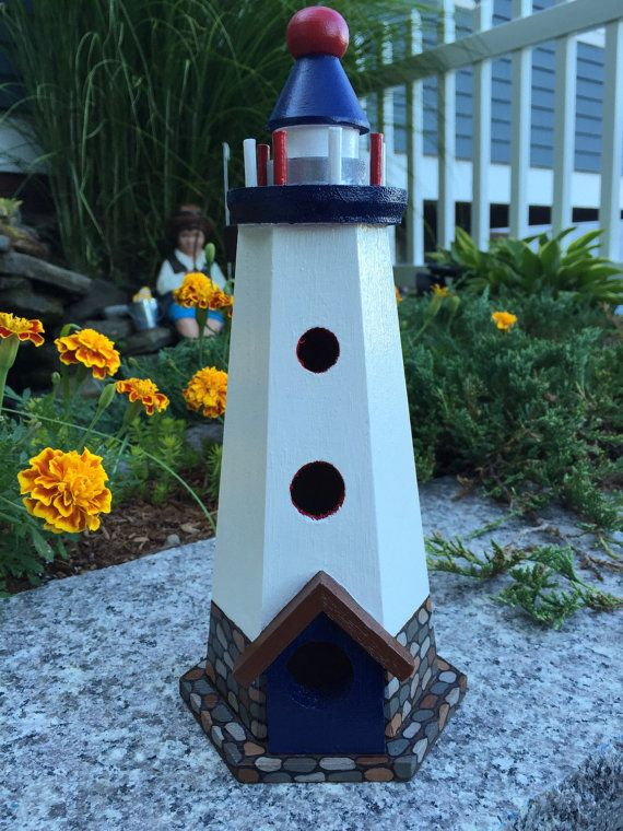 Hand Painted Wooden Lighthouse Custom Colors Available